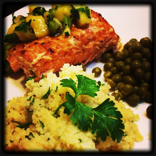 Salmon with Kiwi/Mango Salsa and Parmesan CousCous