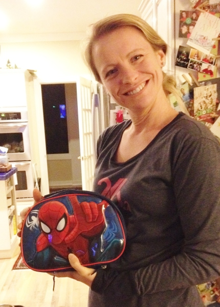 Spiderman Lunchbox. Don't ask, just accept the crazy